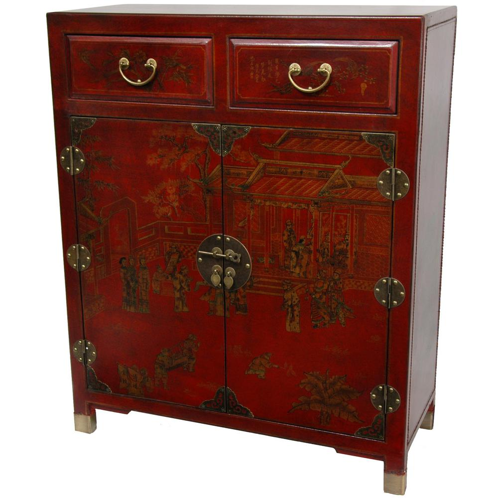 Oriental Furniture Red Lacquer Two Drawer Cabinet