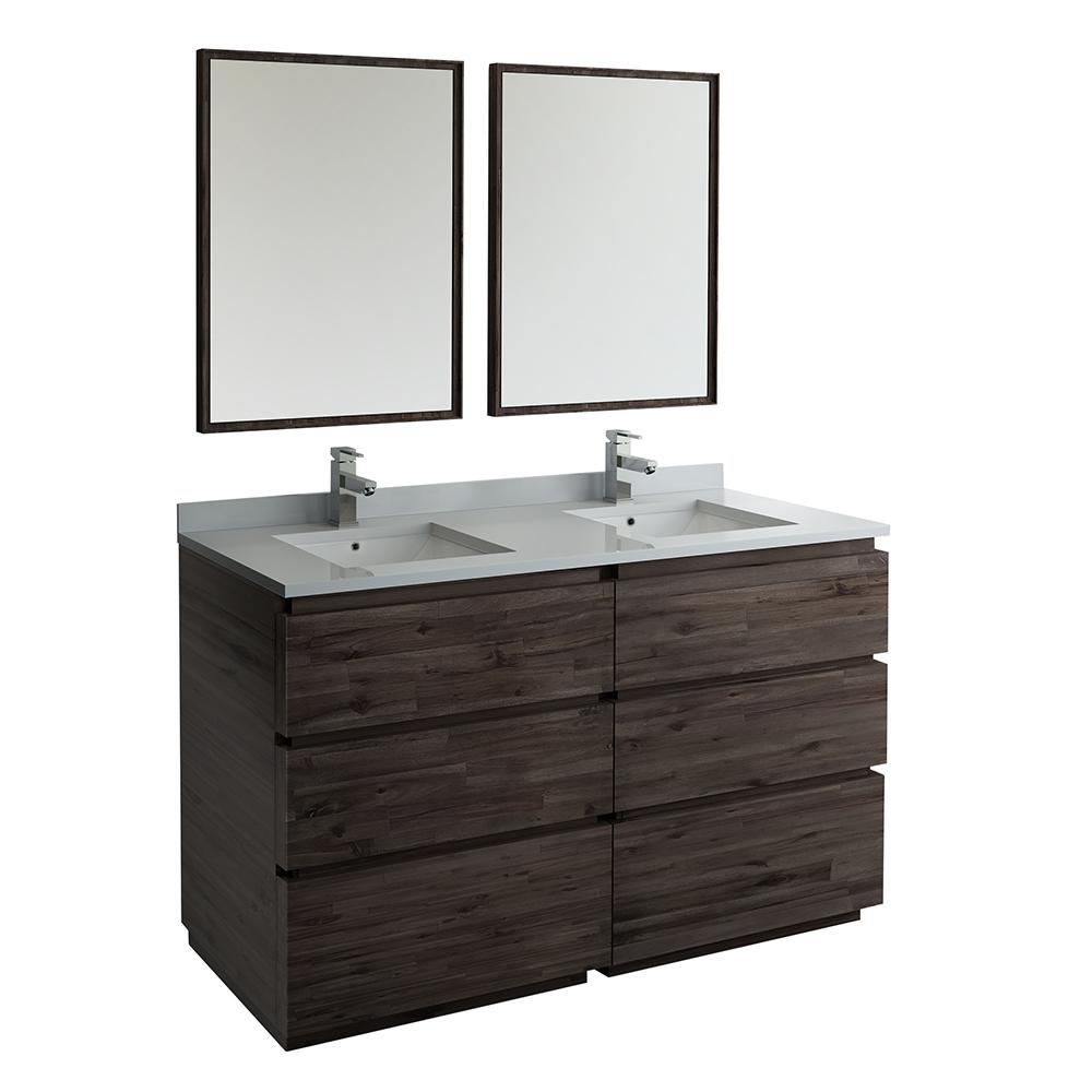Fresca Formosa 60 in. Modern Double Vanity in Warm Gray with Quartz Stone Vanity Top in White with White Basins and Mirrors
