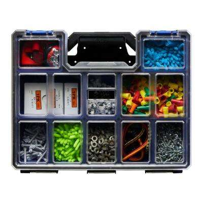 10-Compartment Wall Mount Pro-Go Deep Cup Small Parts Organizer, Blue