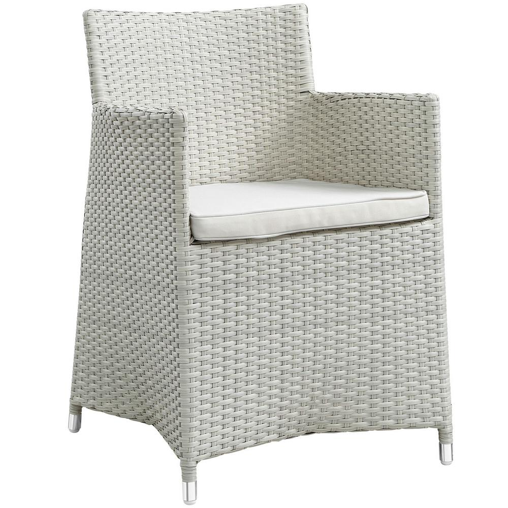 Junction Wicker Outdoor Patio Dining Chair in Gray with White Cushions