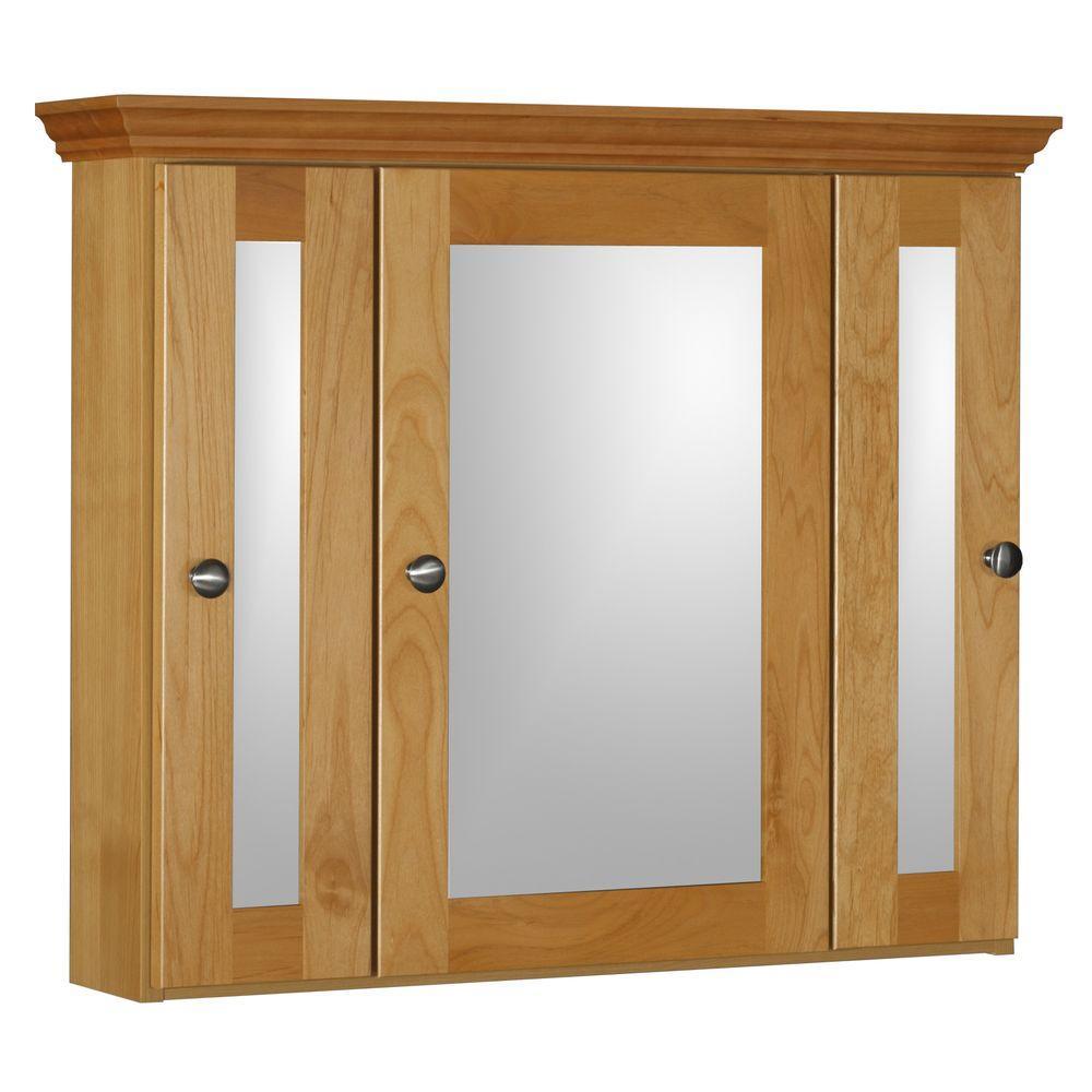 Shaker 30 in. W x 27 in. H x 6-1/2 in. D Framed Tri-View Surface-Mount Bathroom Medicine Cabinet in Natural Alder