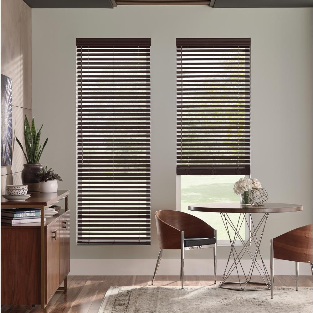 Faux Wood Brown 2 Cordless Window Treatments Home Decor Mini Blinds Furniture