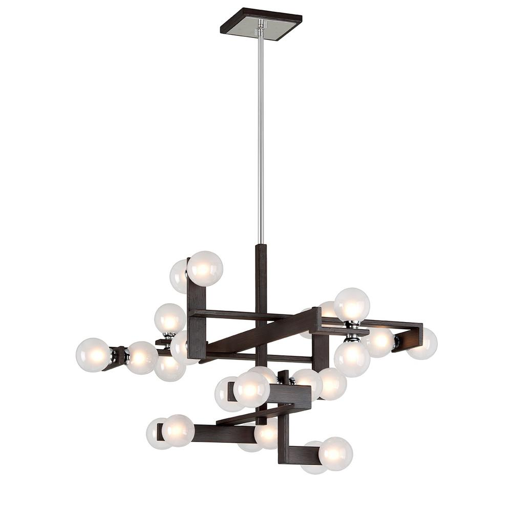Troy Lighting Network 24-Light Forest Bronze and Polished Chrome Pendant with Frosted Clear Glass Ball Shade