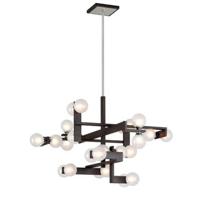 Network 24-Light Forest Bronze and Polished Chrome Pendant with Frosted Clear Glass Ball Shade