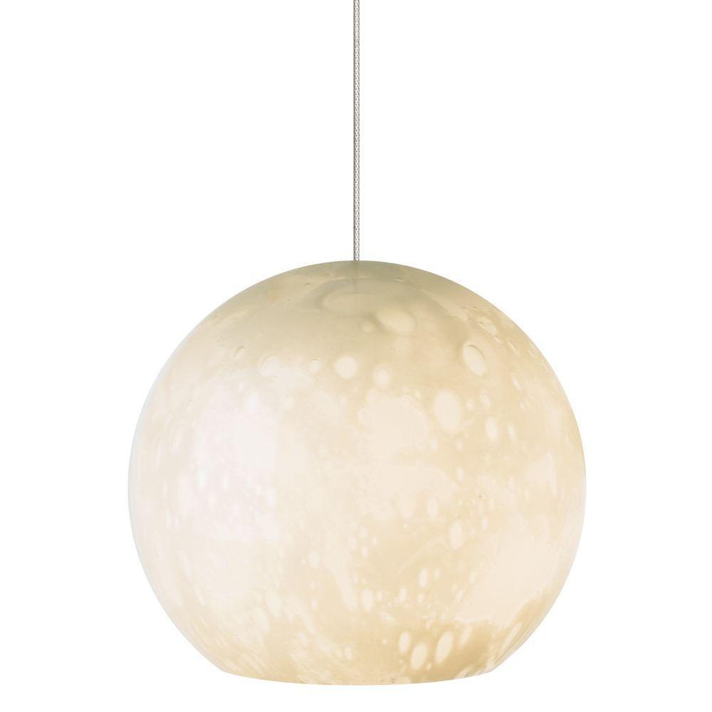 Aquarii 1-Light Satin Nickel Ivory LED Hanging Mini Pendant