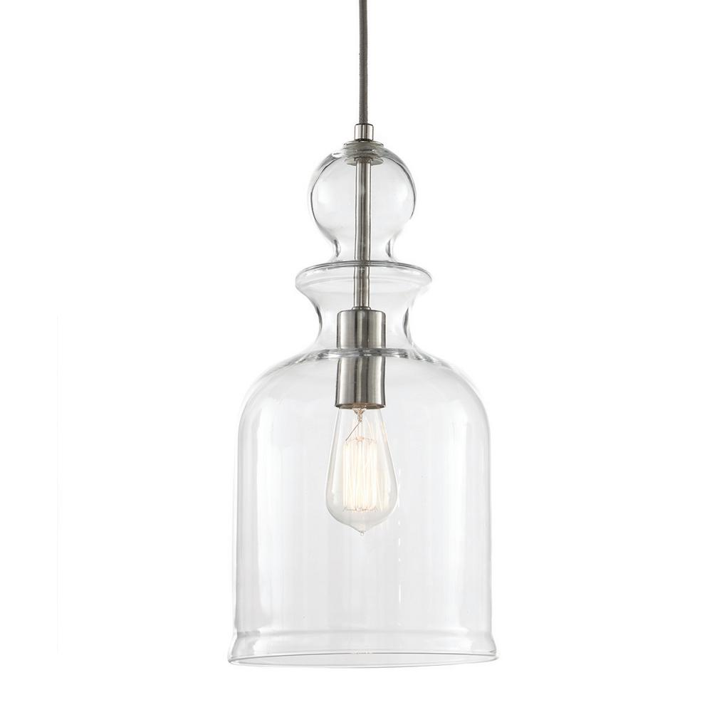 Home Decorators Collection 1 Light Brushed Nickel Pendant 7942hdc The Home Depot