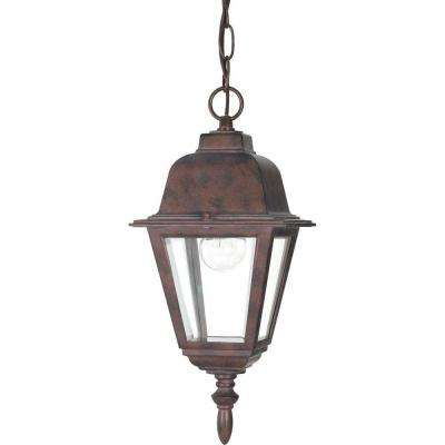 1-Light Outdoor Old Bronze Hanging Lantern with Clear Glass Shade