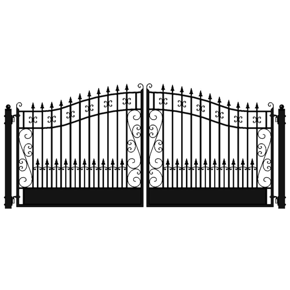 ALEKO Venice Style 18 ft. x 6 ft. Black Steel Dual Driveway Fence Gate