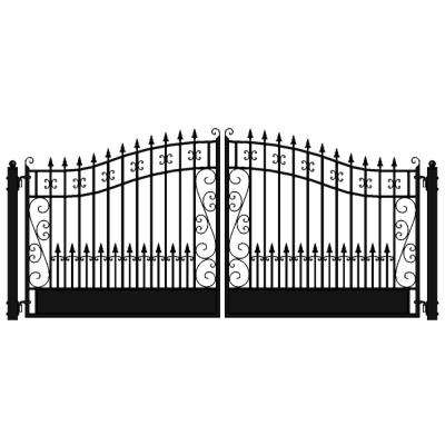 Venice Style 18 ft. x 6 ft. Black Steel Dual Driveway Fence Gate