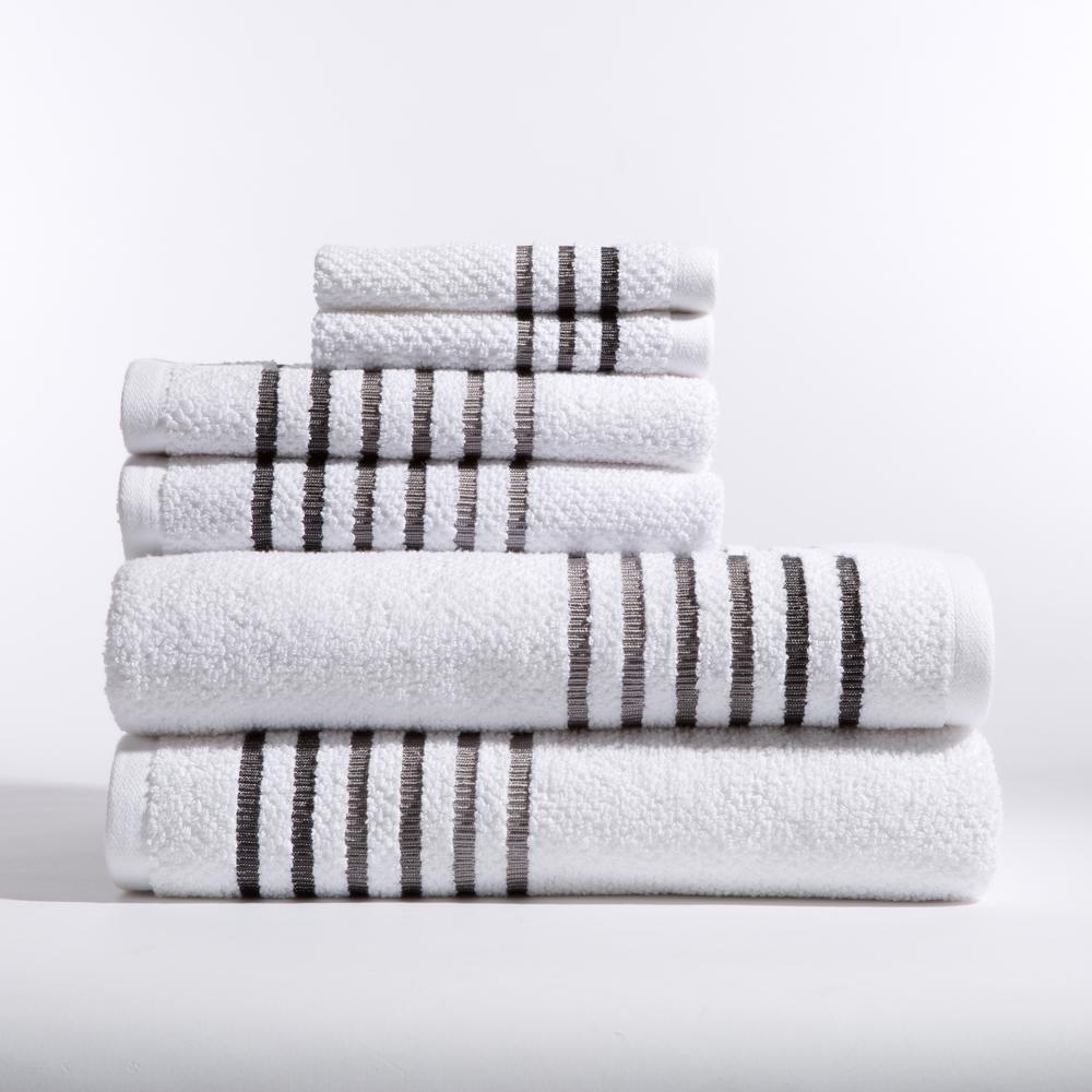 Maggie 6-Piece Bath Towel in White Caviar