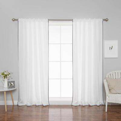 96 in. L Polyester Oxford Thin Dove Border Curtains in White (2-Pack)