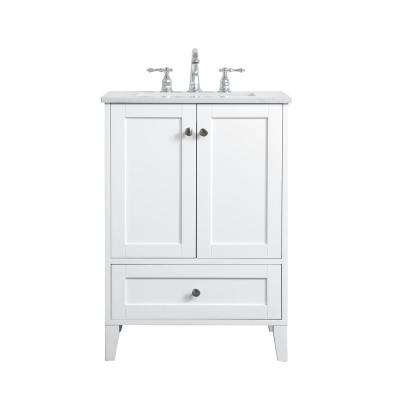 Timeless Home 24 in. W x 19 in. D x 34 in. H Single Bathroom Vanity in White with Calacatta Quartz