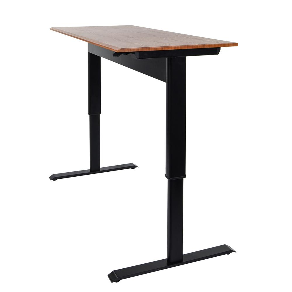 Pneumatic Adjustable 48 in. H Standing Desk with a Teak Colored