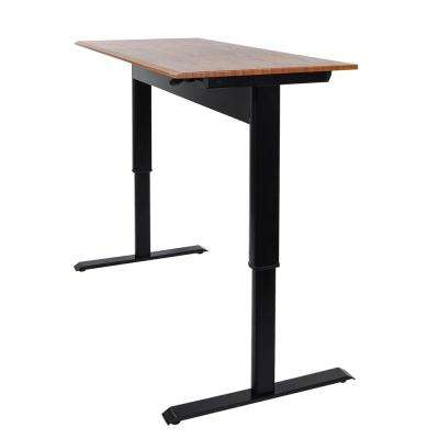 Pneumatic Adjustable 48 in. H Standing Desk with a Teak Colored Top and Black Frame