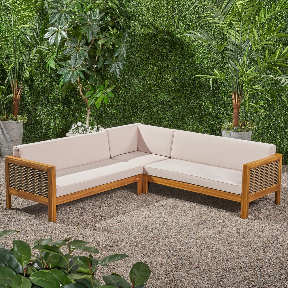 Noble House Linwood Teak Brown 3 Piece, Teak Sectional Patio Furniture