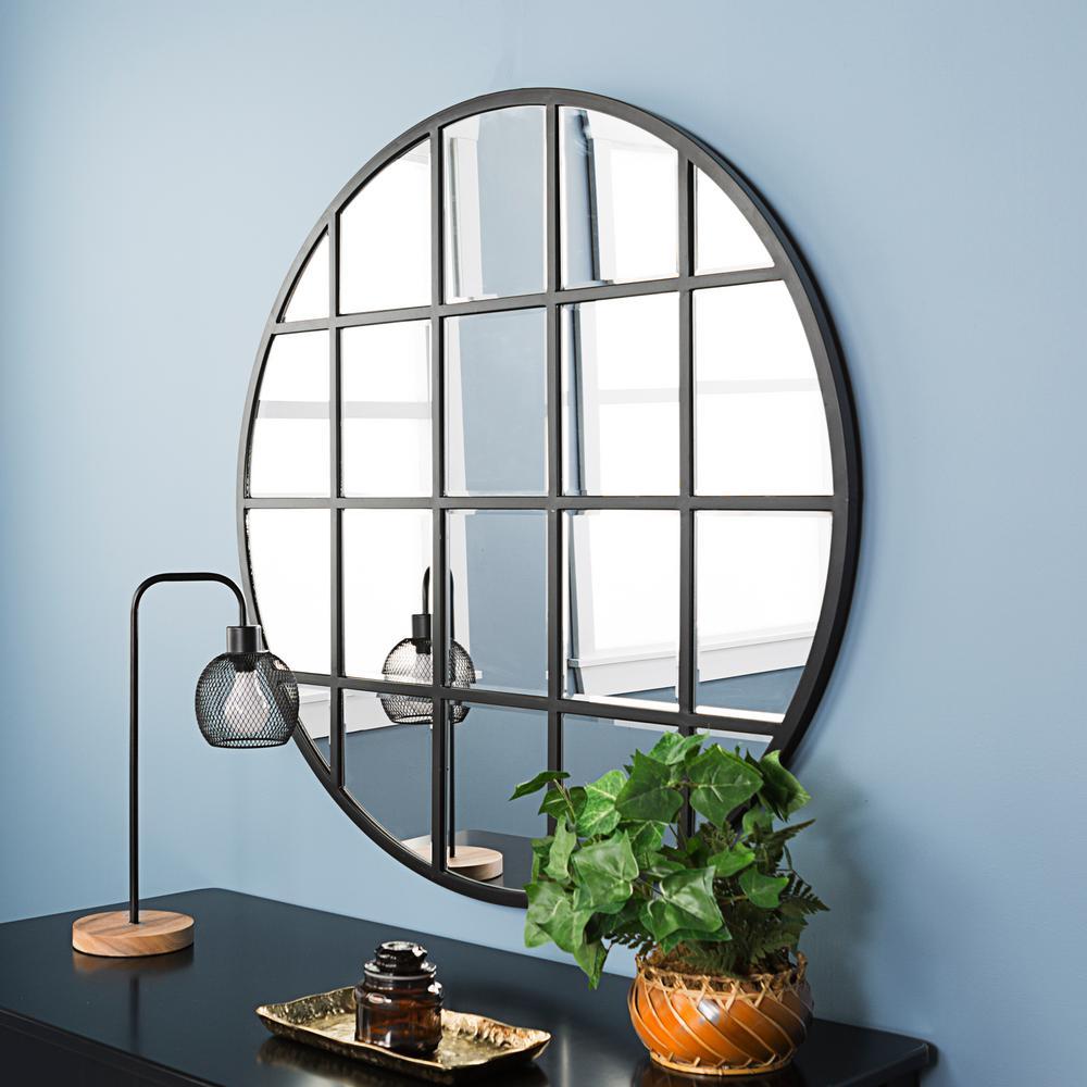 40 in. Round Beveled Window Mirror
