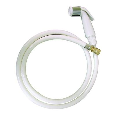 Fit All Kitchen Hose and Sprayer in White with Chrome Sleeve