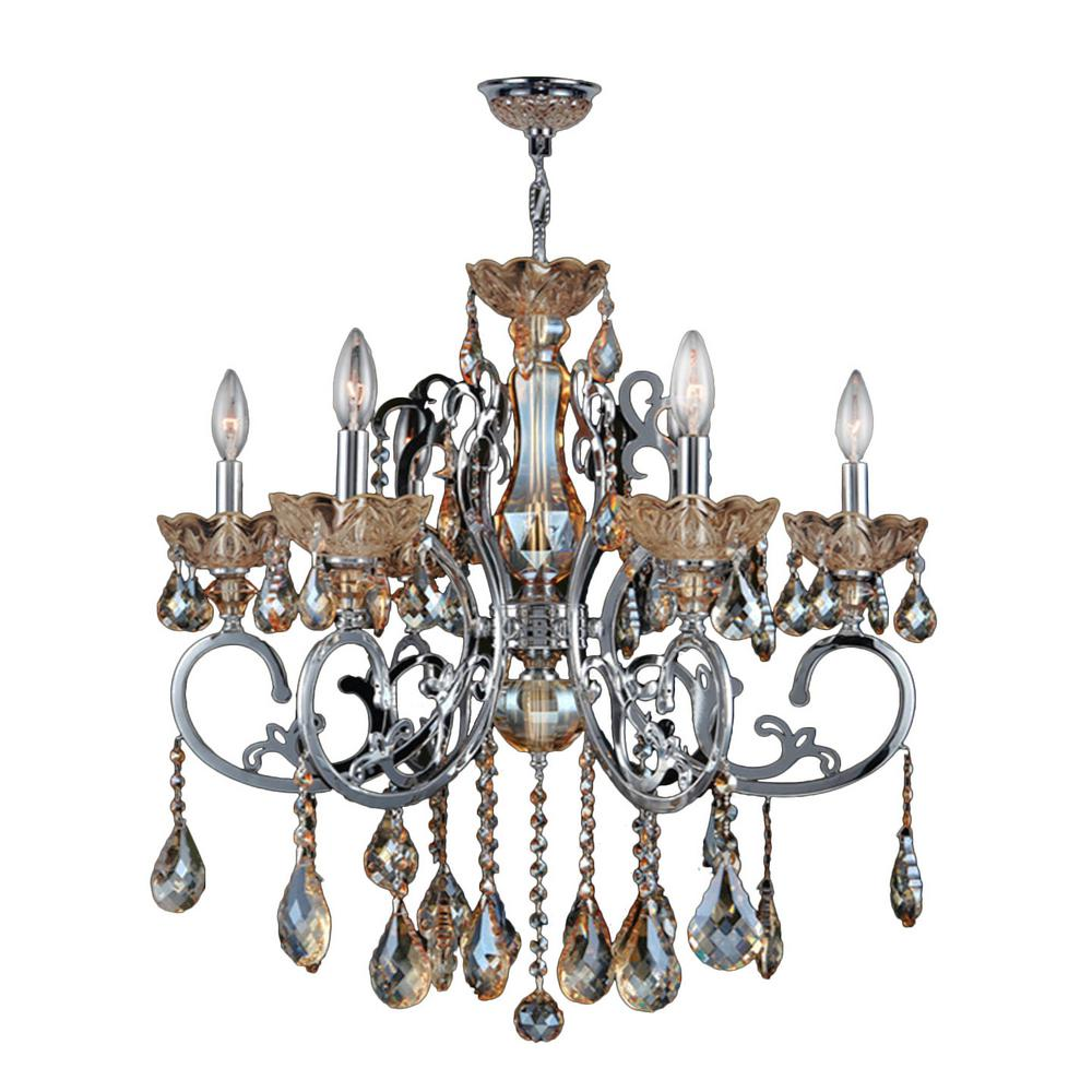 Kronos 6-Light Chrome and Amber Crystal Large Chandelier