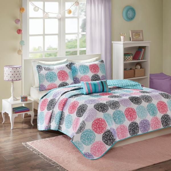 Mi Zone Audrina 4-Piece Purple Full/Queen Print Coverlet Quilt Set MZ80-238