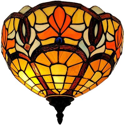 1-Light Tiffany Style Stained Glass Red Brown Yellow Wall Sconce
