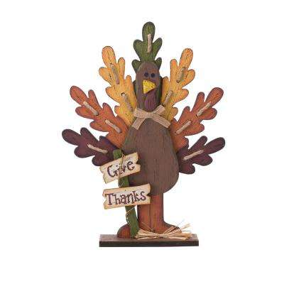 18.11 in. H Burlap/Wooden Turkey Table Decor