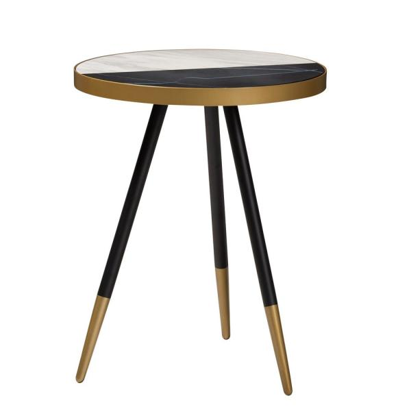 Baxton Studio Lauro Brown and Black and Gold End Table 153-9084-HD