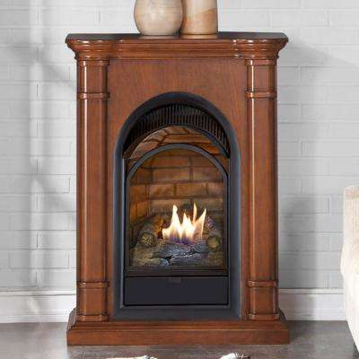 28 in. 15000 BTU T-Stat Control Ventless Dual Fuel Fireplace in Apple Spice with Mantel