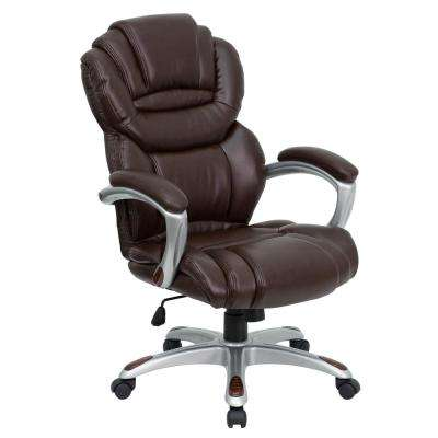 High Back Brown Leather Executive Swivel Office Chair with Leather Padded Loop Arms