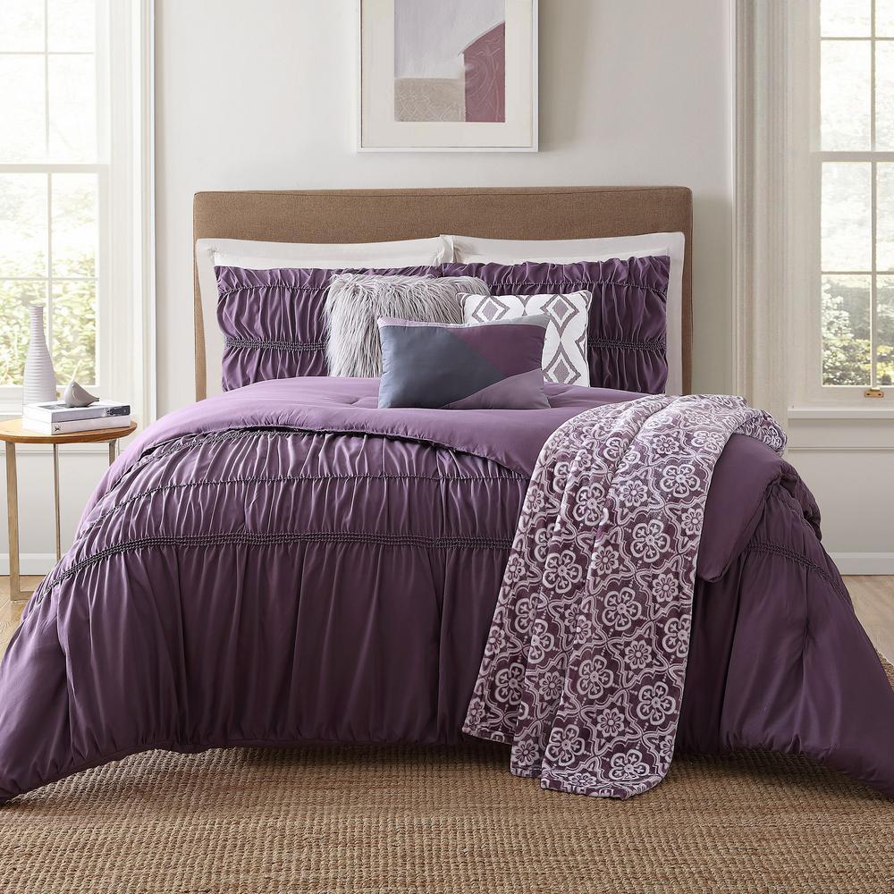 Minyar 7-Piece Purple King Comforter Set, Multi-Colored