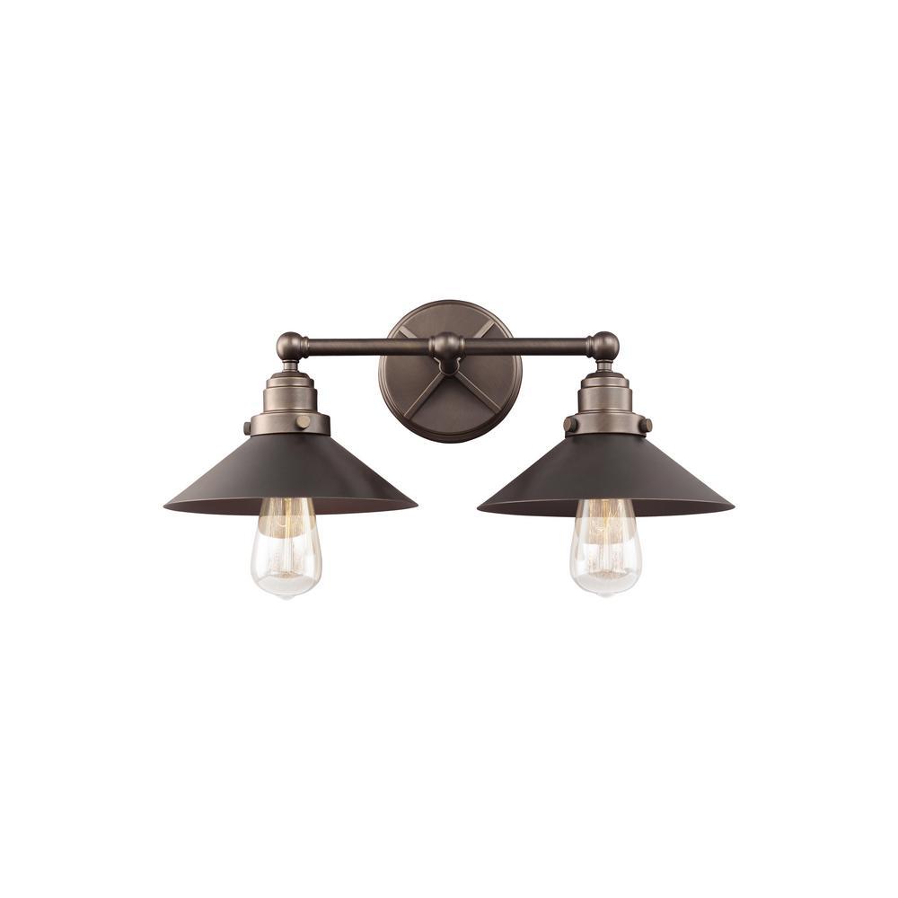 Feiss hooper 2 light antique bronze bath light vs23402anbz the home depot for Home depot bathroom lighting bronze