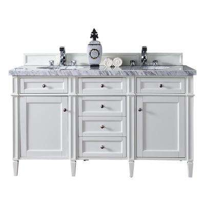 Brittany 60 in. W Double Vanity in Cottage White with Marble Vanity Top in Carrara White with White Basin