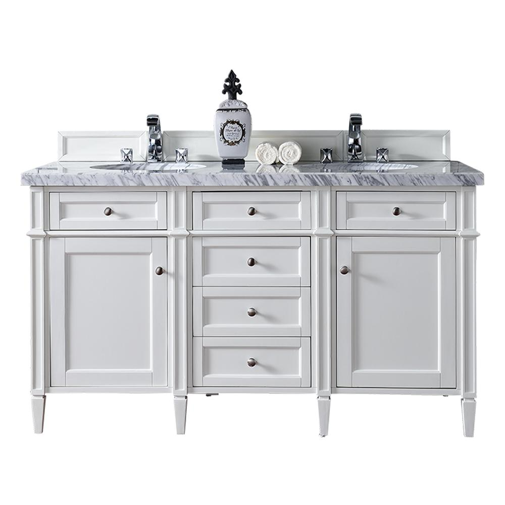 James Martin Vanities Brittany 60 In W Double Vanity Cottage White With Marble Top Carrara Basin