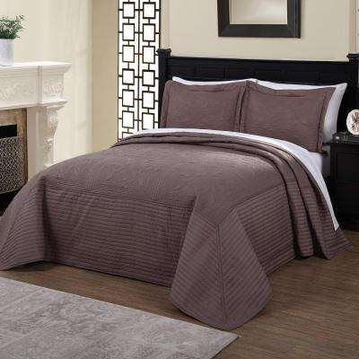 French Tile Quilted Taupe Brown and Twin Quilt Bedspread