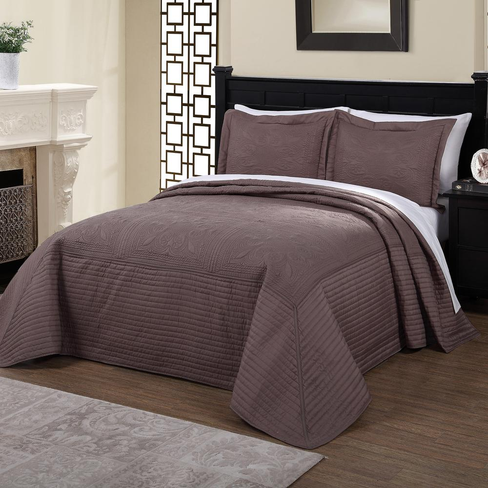 American Traditions French Tile Quilted Taupe Brown And Twin Quilt Bedspread