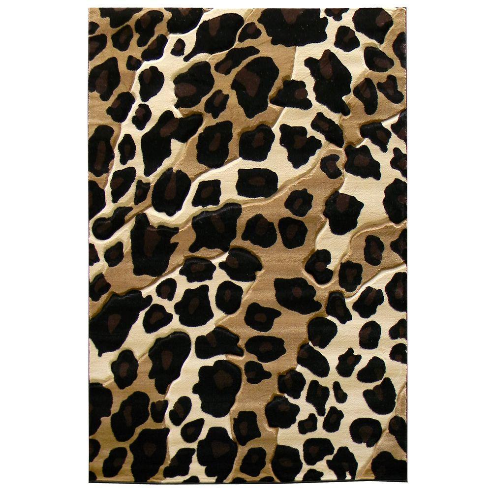 Sculpture Leopard Skin Print Black 5 ft. x 7 ft. Indoor