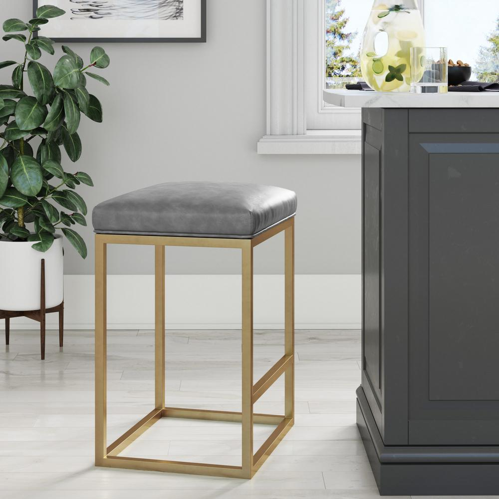 Nathan James Nelson 24 in. Gray Leather Cushion and Gold Stainless Steel Frame Metal Bar Stool