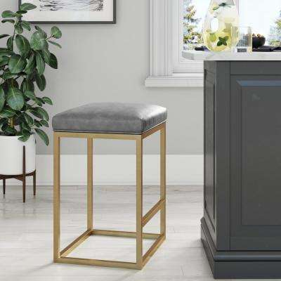 Nelson 24 in. Gray Leather Cushion and Gold Metal Bar Stool