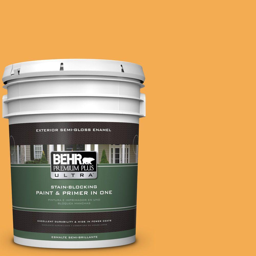 BEHR Premium Plus Ultra 5-gal. #290B-6 Squash Semi-Gloss Enamel Exterior Paint