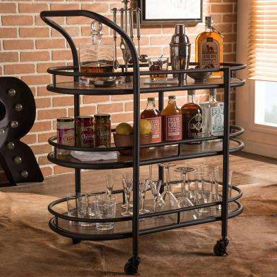 Karlin Black and Medium Brown Wine Cart