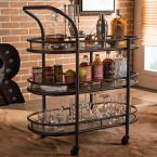 Baxton Studio Karlin Black and Medium Brown Wine Cart