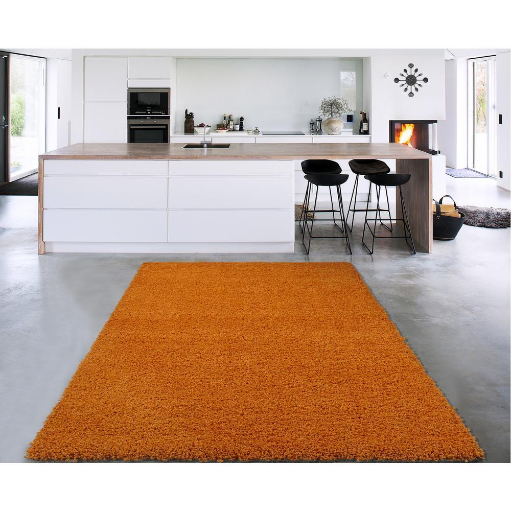 Cozy Shag Collection Orange 8 ft. x 10 ft. Area Rug
