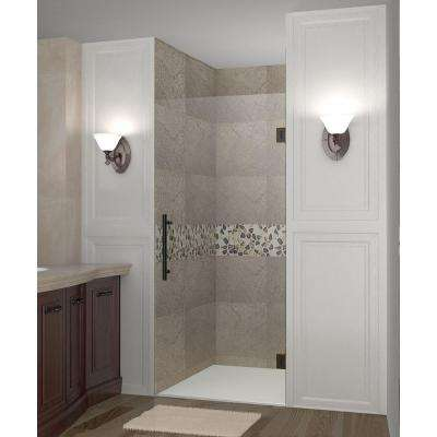 Cascadia 34 in. x 72 in. Completely Frameless Hinged Shower Door in Oil Rubbed Bronze