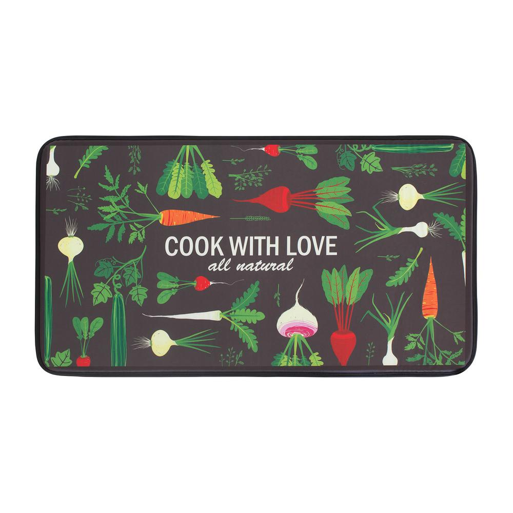 Chef Gear Cook With Love Anti Fatigue 20 In X 36 In Faux Leather Kitchen Mat