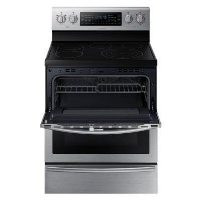 30 in. 5.9 cu. ft. Flex Duo Double Oven Electric Range with Self-Cleaning Convection Dual Door Oven in Stainless Steel