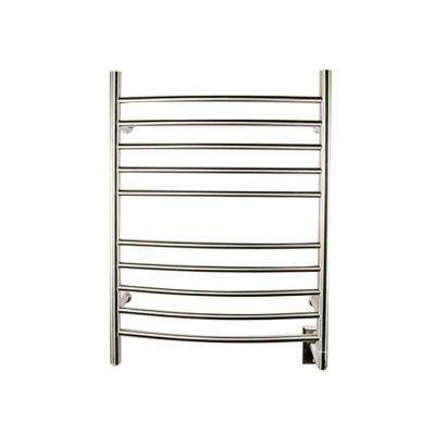 Radiant Curved Hardwired 24 in. W x 32 in. H 10-Bar Electric Towel Warmer in Brushed Stainless Steel