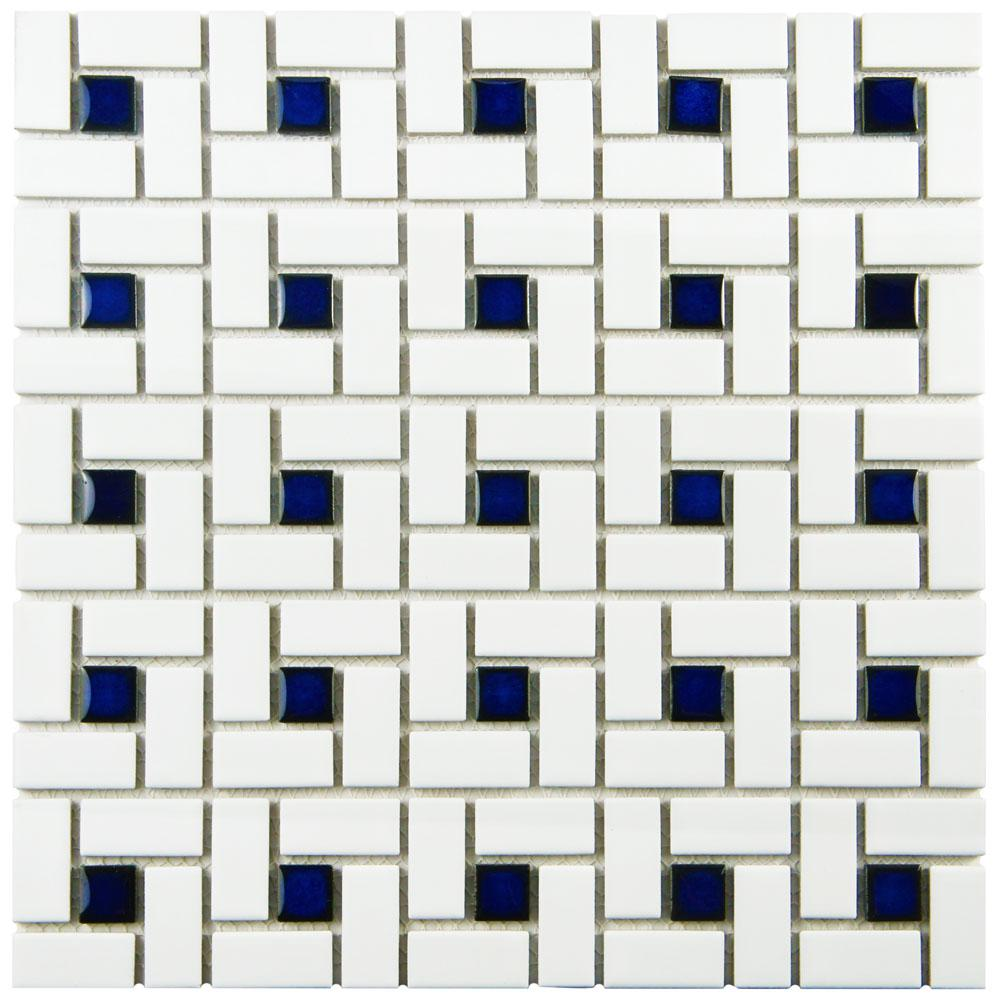 Merola Tile Spiral Blue and White 12-1/2 in. x 12-1/2 in....