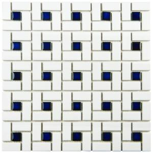 Merola Tile Spiral Blue And White 12 1 2 In X 6 Mm Porcelain Mosaic 11 Sq Ft Case Fkomsp24 The Home Depot