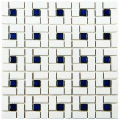 Spiral Blue and White 12-1/2 in. x 12-1/2 in. x 6 mm Porcelain Mosaic Tile (11.1 sq. ft. / case)
