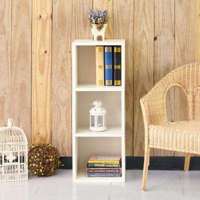 Wynwood 3-Shelf White Eco zBoard Tool Free Assembly Narrow Bookcase Storage Shelf