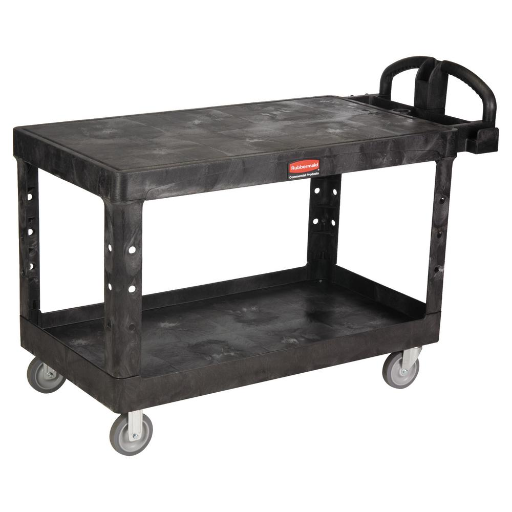 Rubbermaid Commercial Products Heavy Duty Black 2-Shelf Utility Cart with Flat Shelf in Large